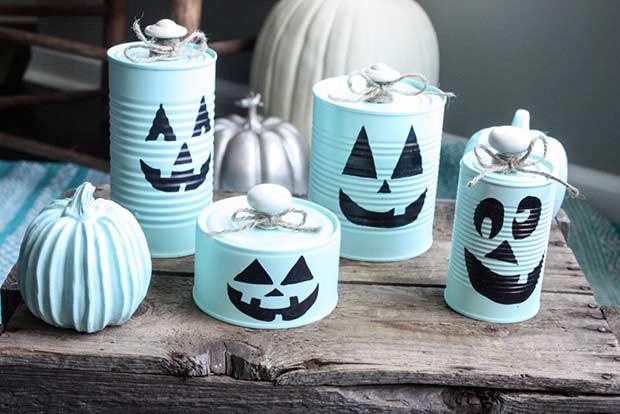 DIY Tin Can Pumpkins for Halloween