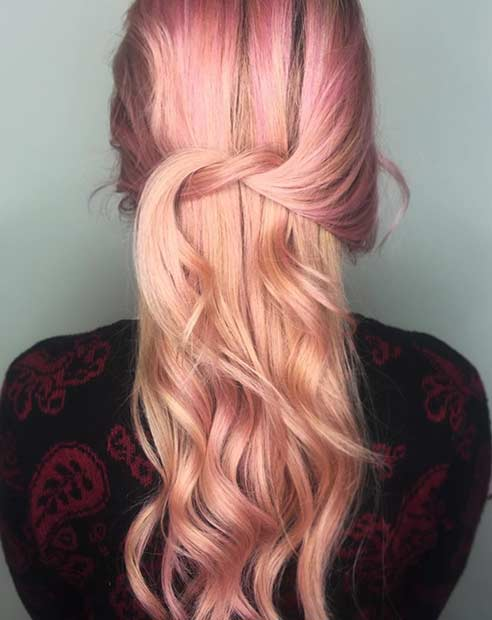 Light Rose Gold Hair Color Idea