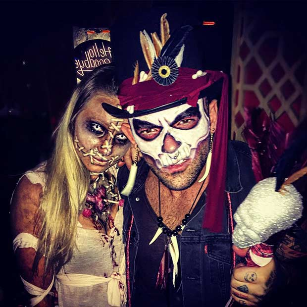 Scary Couples Halloween Costume Witch-doctor and Voodoo & 31 Creative Couples Costumes for Halloween | StayGlam