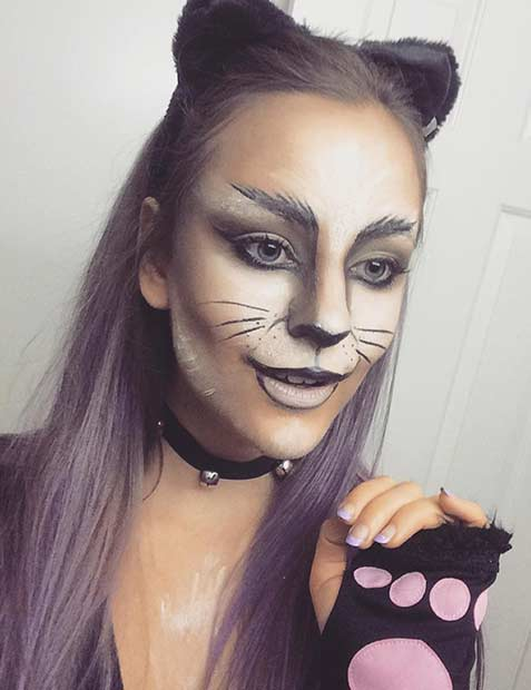 Black and White DIY Cat Halloween Makeup