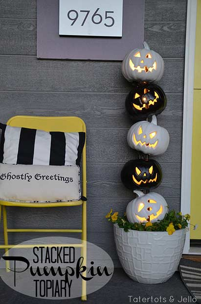 Pumpkin Topiary Halloween Porch Decoration