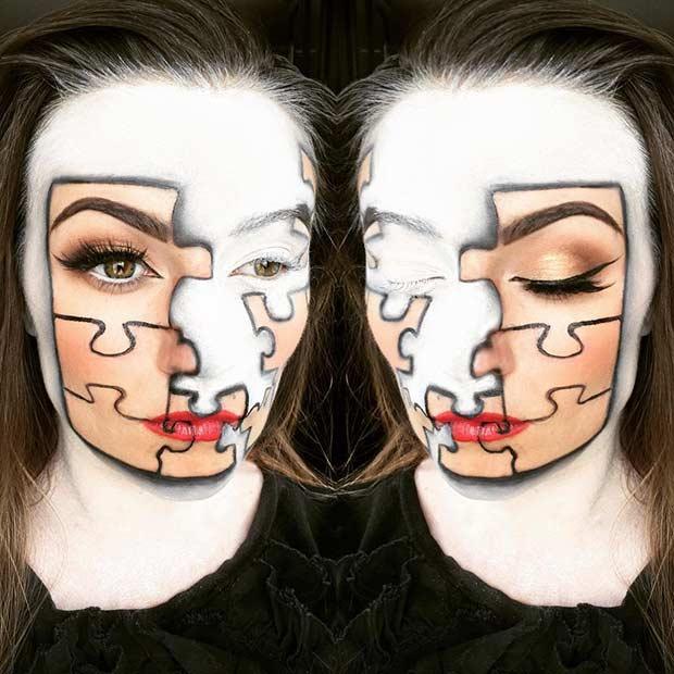 Puzzle Halloween Makeup Look