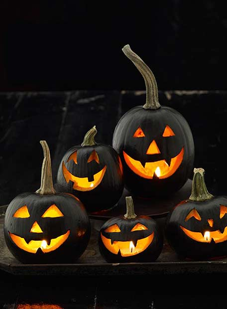 Black DIY Halloween Jack O Lantern Pumpkins