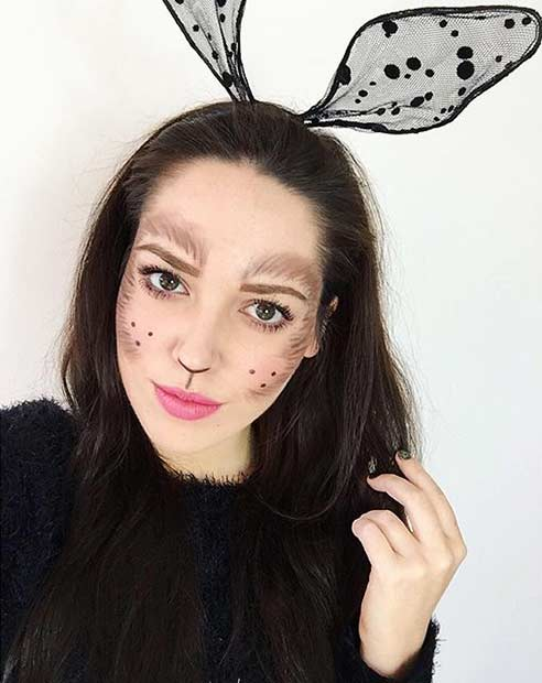 Cute Black Bunny Halloween Makeup Look