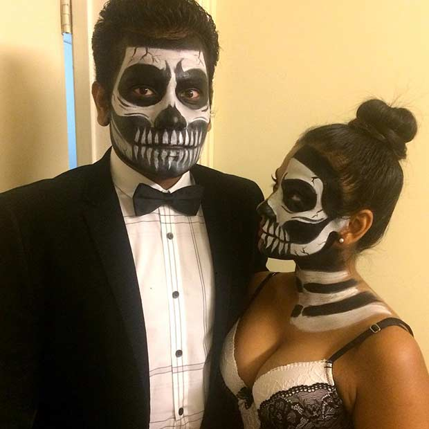 Couples Skeleton Halloween Costume and Makeup