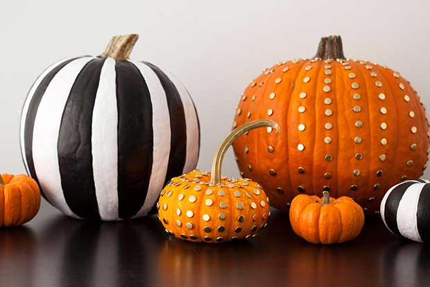 Black White Gold Creative No-Carve Pumpkins
