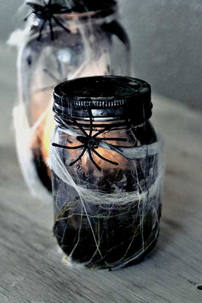 Halloween Spider Mason Jars Decoration