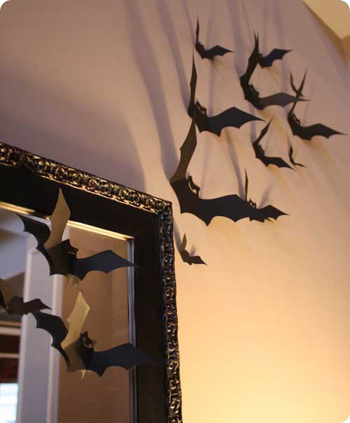 Black Paper Bats Wall Decoration for Halloween