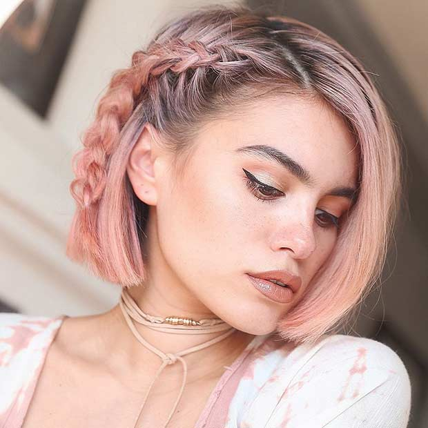 Rose Gold Short Bob Hairstyle