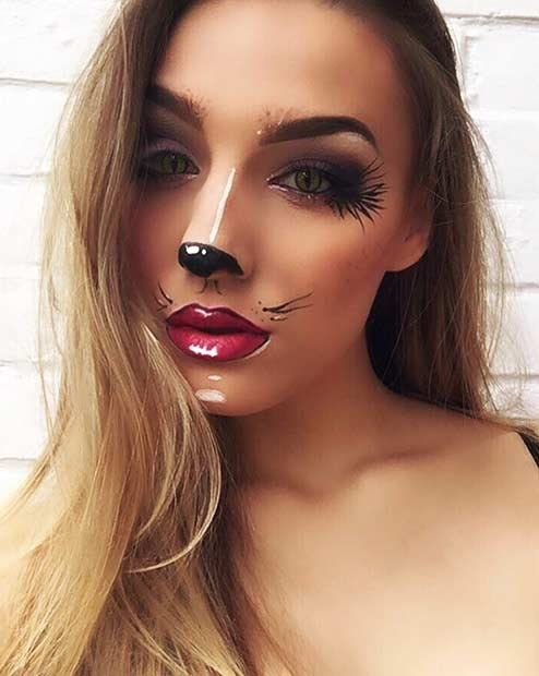 Pretty Animal Halloween Makeup Idea