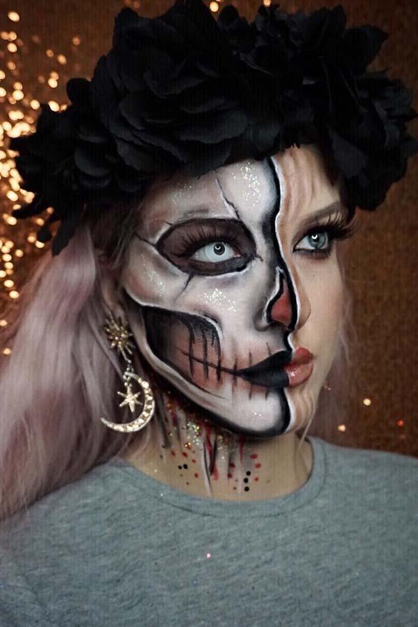 Amazing Half Skeleton Makeup Look