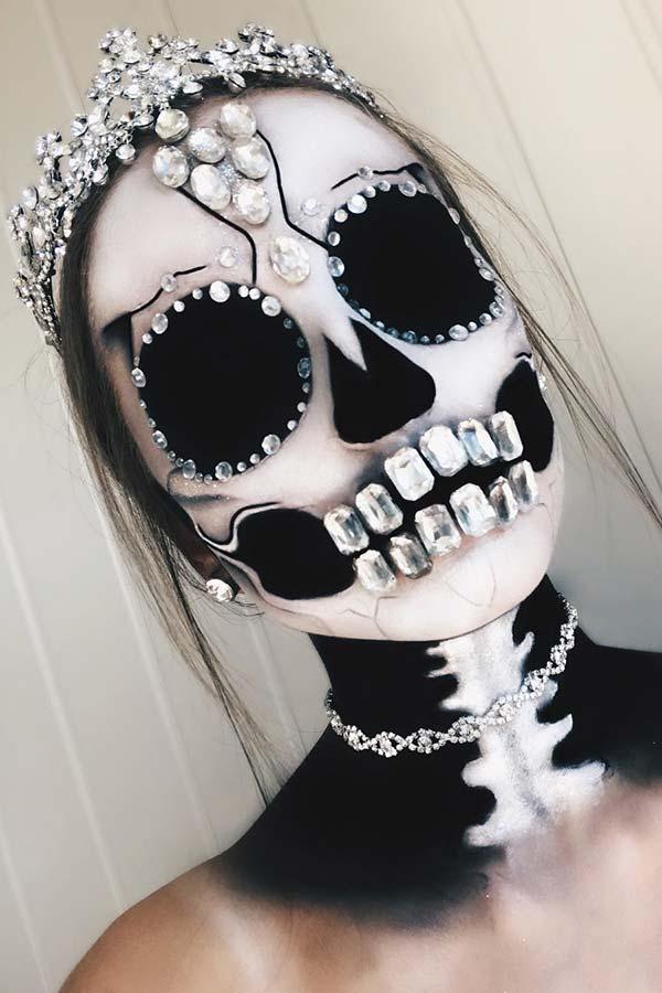 Blacka and White Skeleton Makeup with Rhinestones