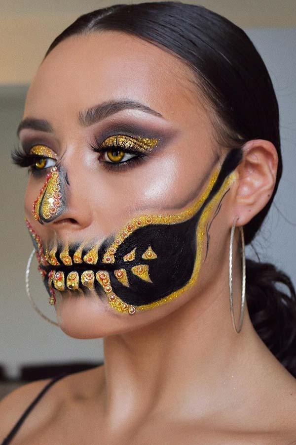 Glam Gold Skeleton Makeup Idea