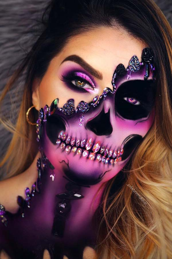 Purple Skeleton Makeup Idea for Halloween