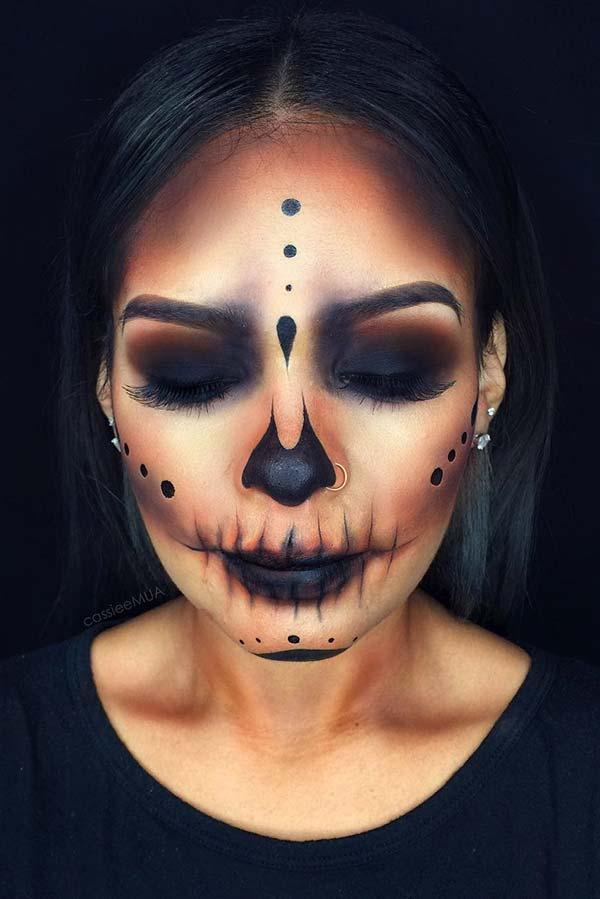 Simple Black Skeleton Makeup
