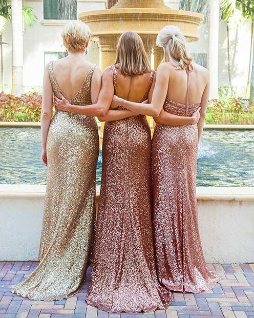 Mismatched Long Sequin Bridesmaid Dresses