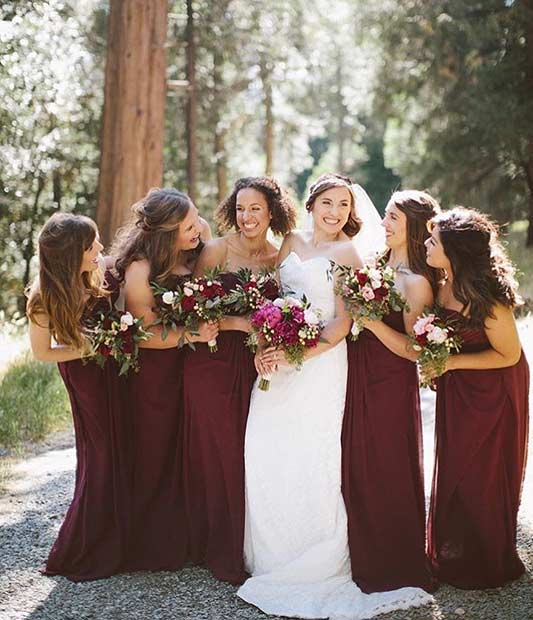 Fall Burgundy Bridesmaid Dresses