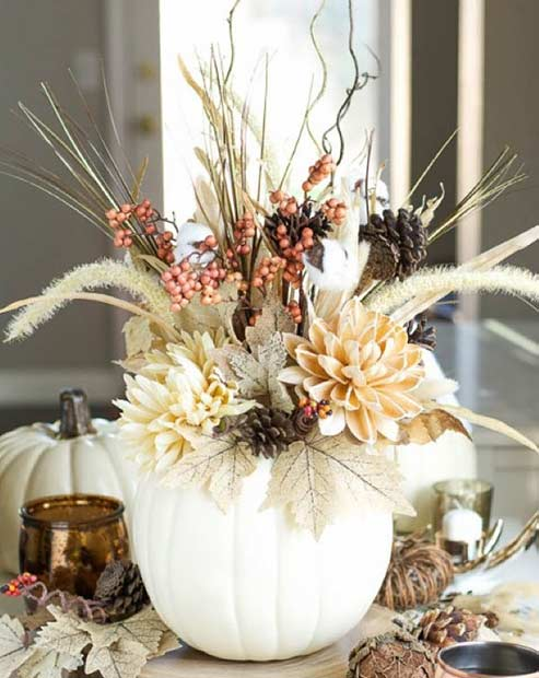 DIY White Pumpkin Vase for Thanksgiving