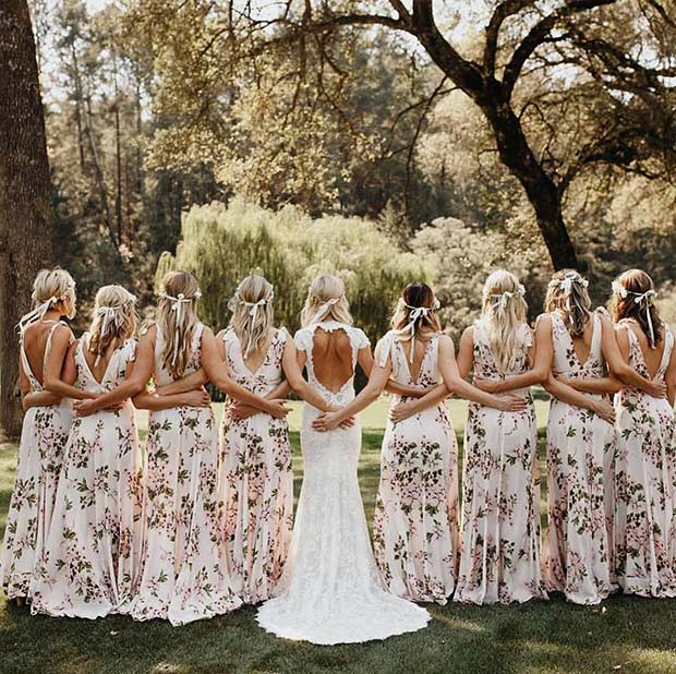 Long Floral Bridesmaid Dresses for a Spring Wedding