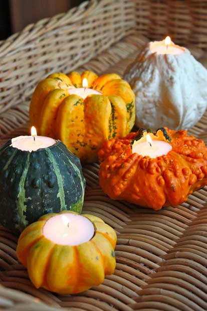Pumpkin Candle Holders Thanksgiving DIY Decor