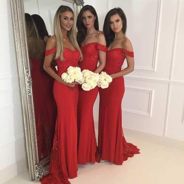 Long Off Shoulder Red Bridesmaid Dresses