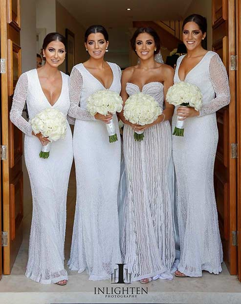 White Long Sleeved Bridesmaid Dresses