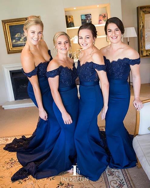 Long Blue Off The Shoulder Bridesmaid Dresses