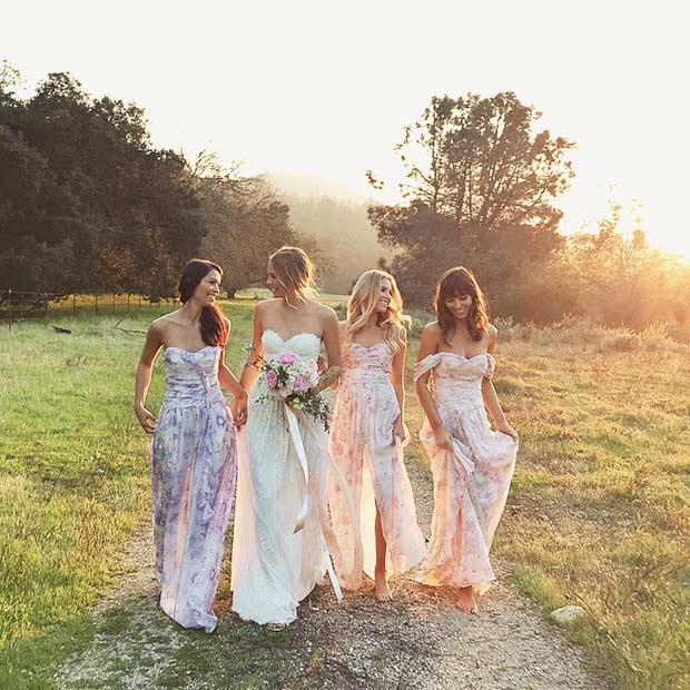 Floral Rustic Bridesmaid Dresses