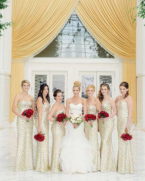 Long Gold Bridesmaid Dresses
