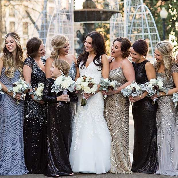 Mismatched Sequin Bridesmaid Dresses