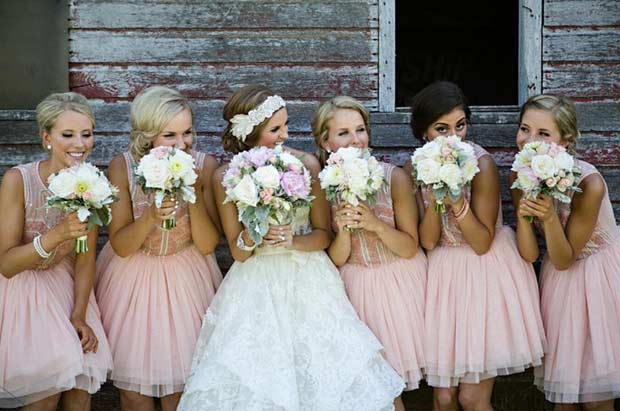 Short Tul Peach Bridesmaid Dresses