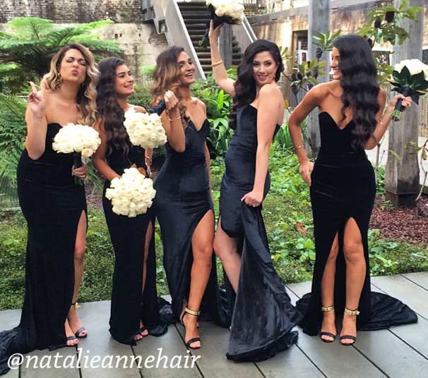 Sexy Black Velvet Bridesmaid Dresses