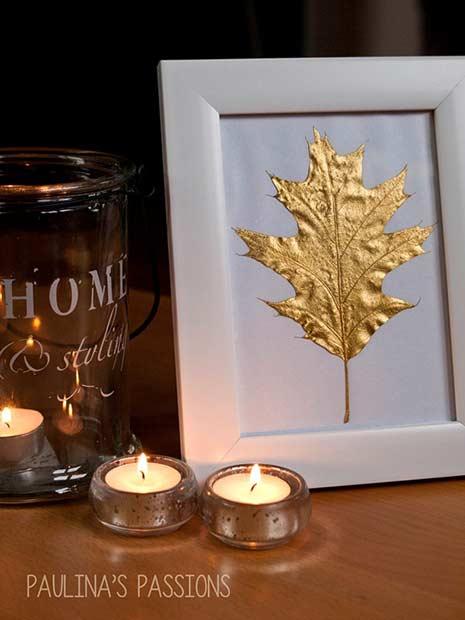 Golden Leaf Thanksgiving DIY Decor