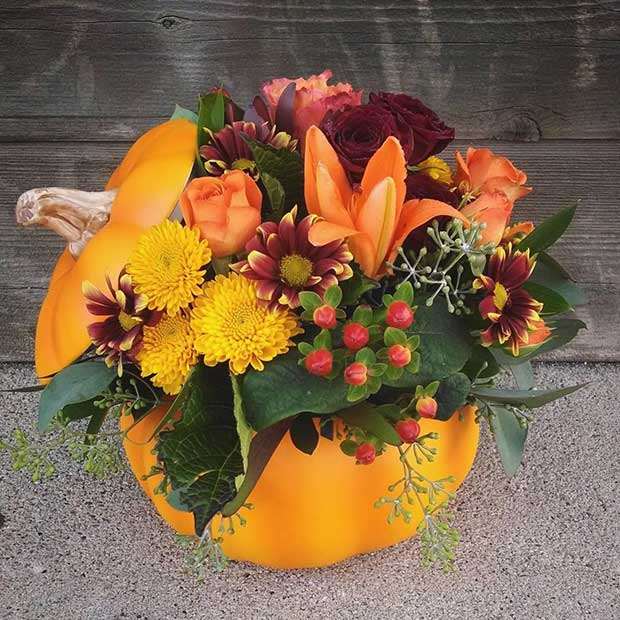Pumpkin Floral Arrangement for Thanksgiving