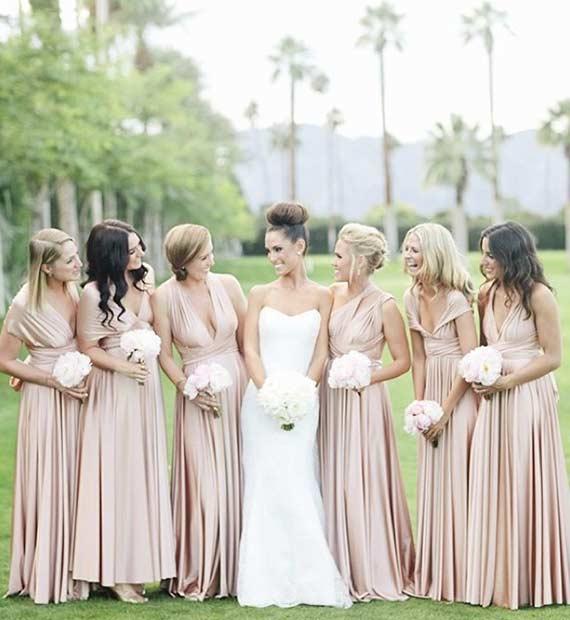 Long Neutral Bridesmaid Dresses