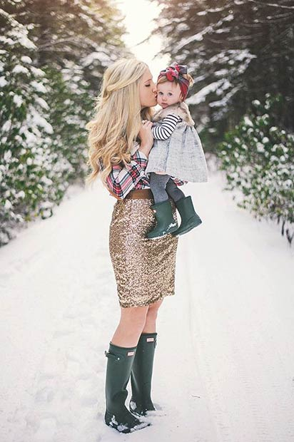 Gold Sequin Skirt Flannel Shirt Christmas Outfit