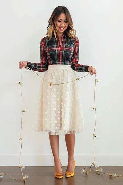 Flannel Shirt Midi Skirt Christmas Outfit Idea
