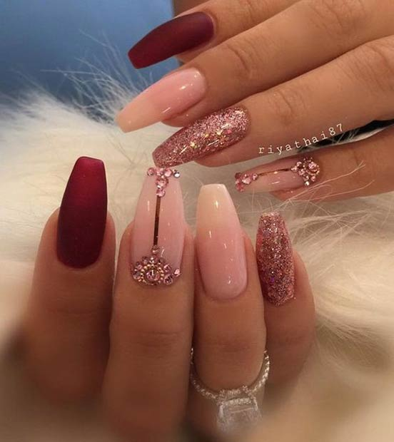 Pink Glitter Coffin Nail Design - 31 Snazzy New Year's Eve Nail Designs StayGlam