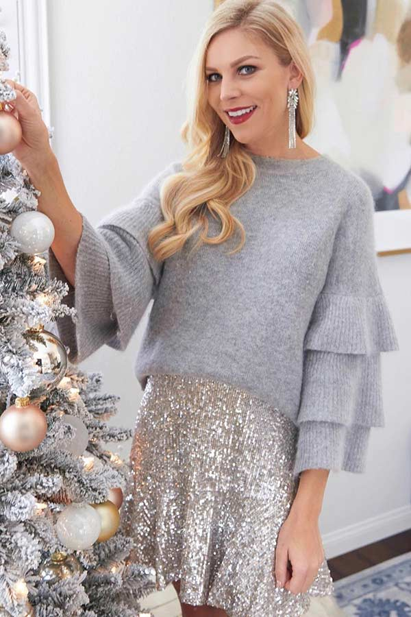 Grey Sweater and Sequin Skirt Outfit