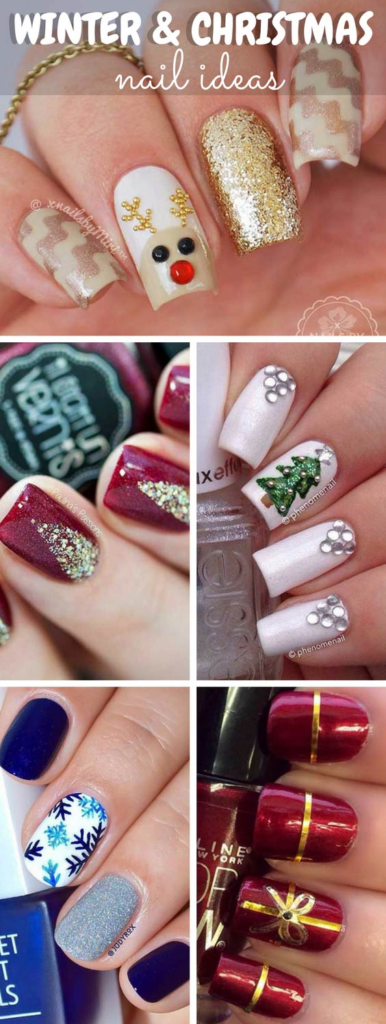 winter christmas nails