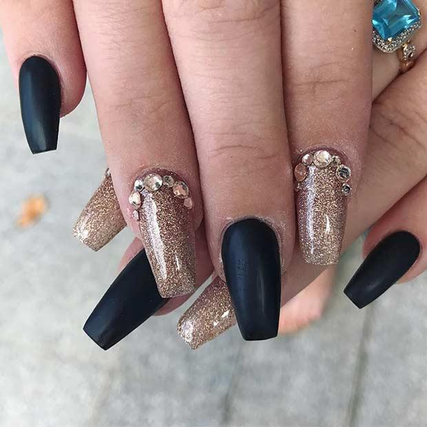Matte Black and Dark Gold Coffin Nail Design