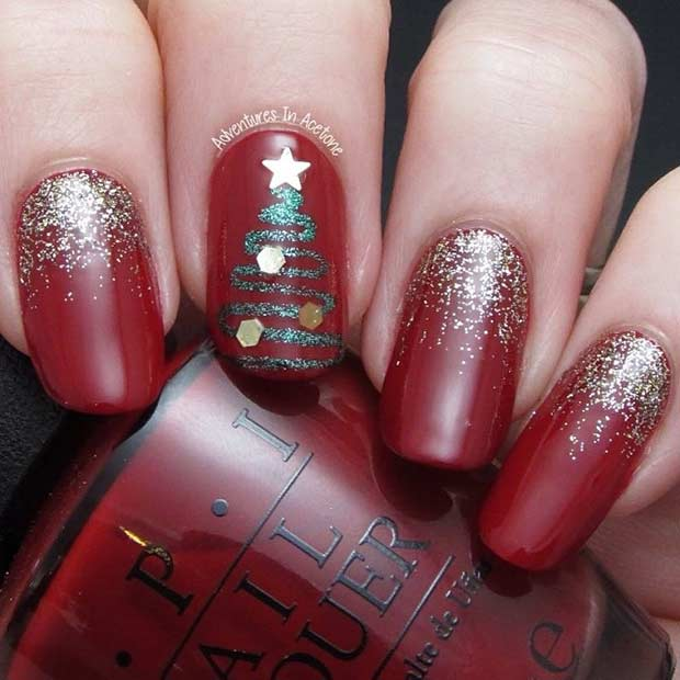 Christmas Nails With Glitter: 69 Easy Winter And Christmas Nail Ideas