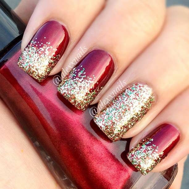 Red and Gold Glitter Christmas Nails