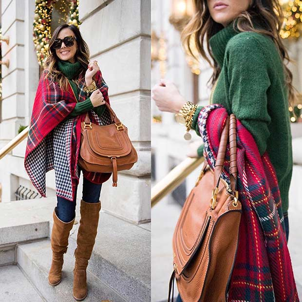 Green Red and Tan Christmas Outfit Idea