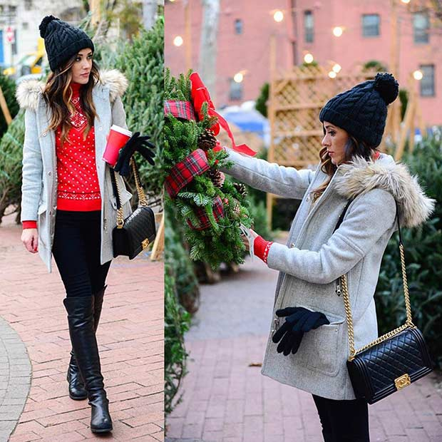 Stylish and Warm Christmas Outfit Idea