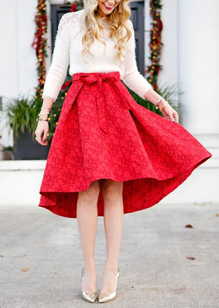 Red Midi Skirt Christmas Outfit Idea
