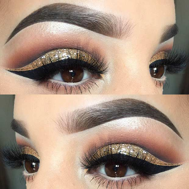 Gold Glitter Cut Crease Eye Makeup for Holidays