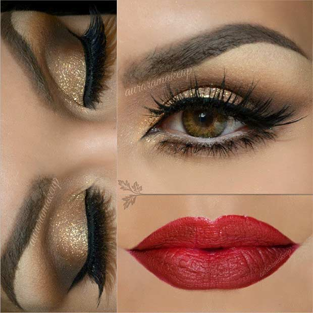 Gold Glitter Eyes and Red Lips