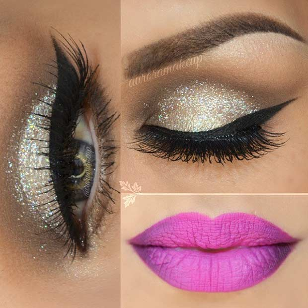 Silver Glitter Eyes and Pink Lips Makeup