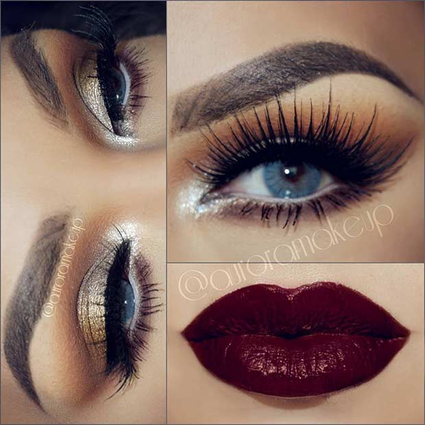 Gold Eyes and Dark Plum Lips Christmas Makeup